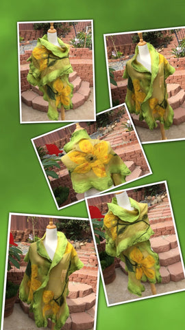 GK Creation - Green with yellow flowers.