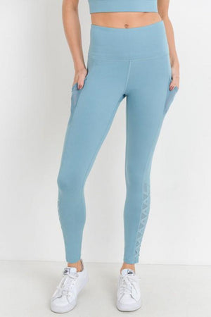 Dusty Blue Lattice Leggings - Shop Amour Boutique
