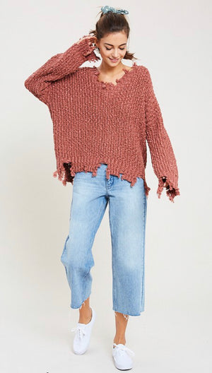 Brick Pullover Frayed Popcorn Sweater - Shop Amour Boutique