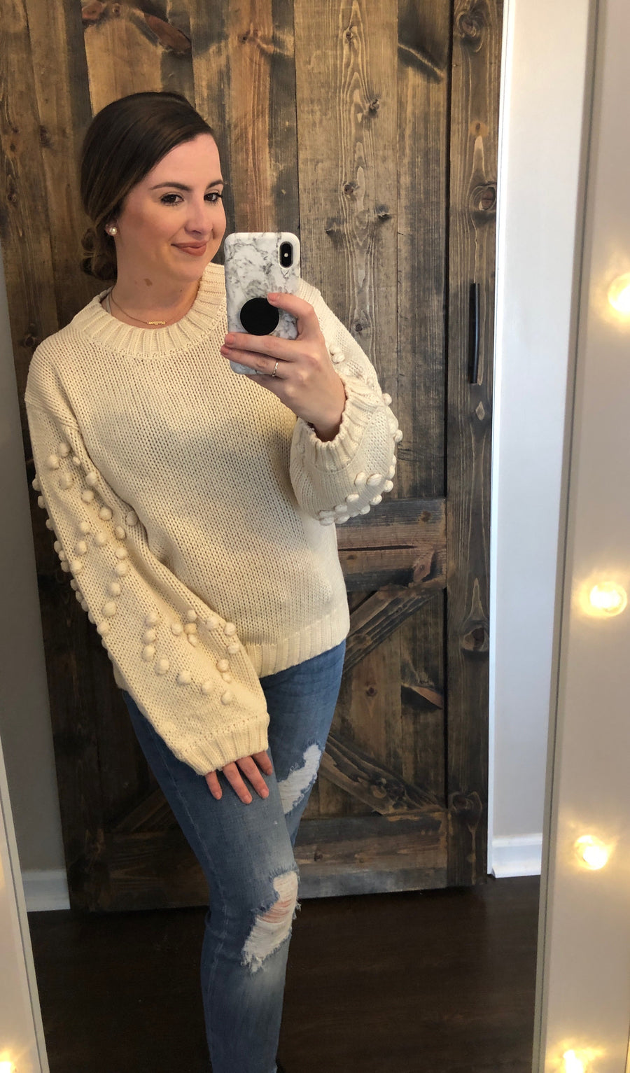 Perfectly You Popcorn Sleeve Sweater - Cream - Shop Amour Boutique