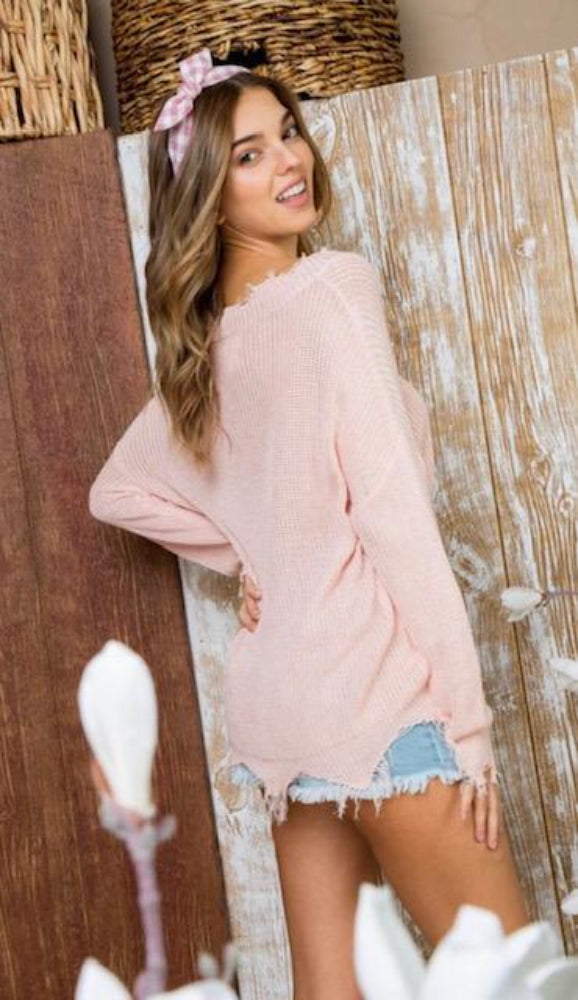 Pink Frayed Sweater - Shop Amour Boutique