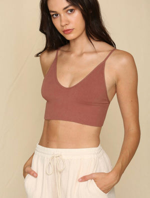 Ribbed Seamless Brami Top - Cocoa - Shop Amour Boutique