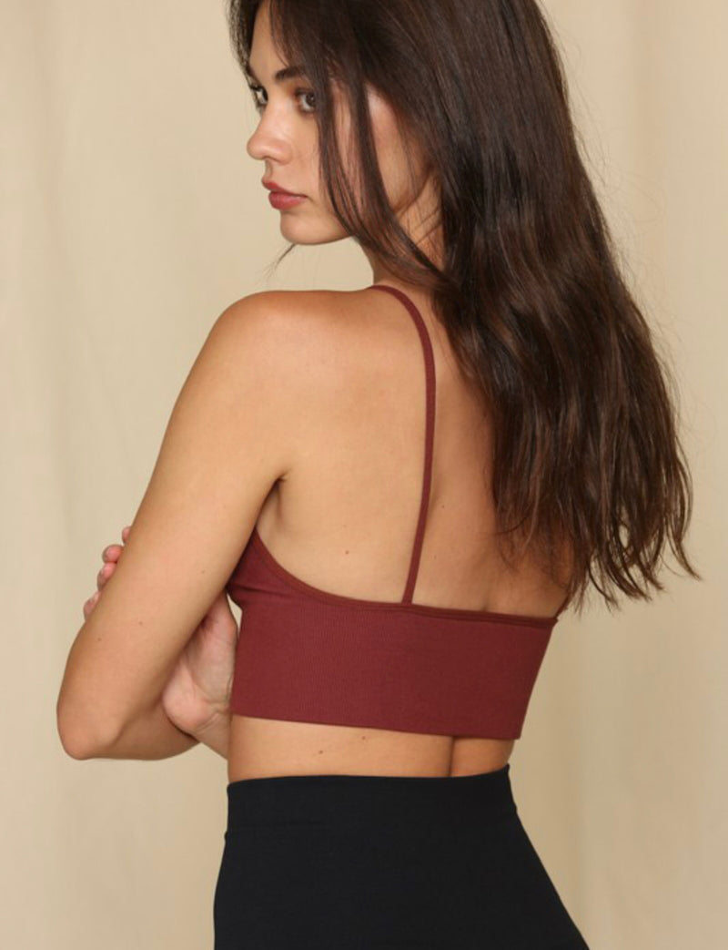 Ribbed Seamless Brami Top - Burgundy - Shop Amour Boutique