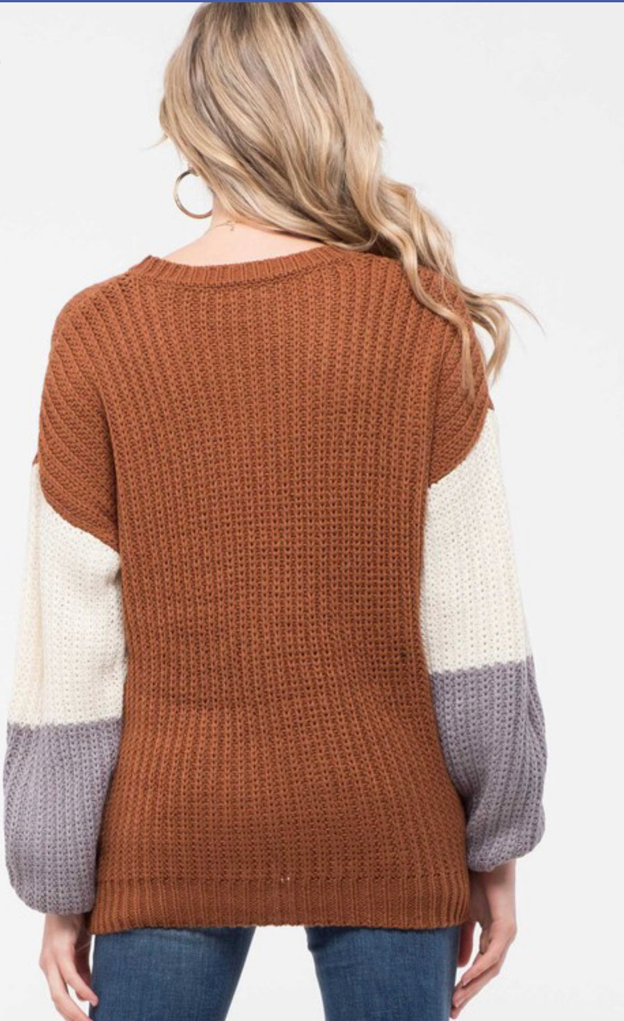 Pull Over Color Block Sweater - Shop Amour Boutique