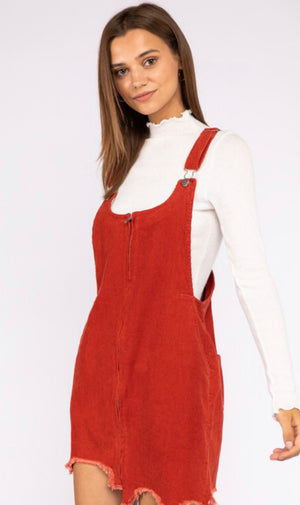 Frayed Corduroy Overall Dress - Burnt Orange - Shop Amour Boutique