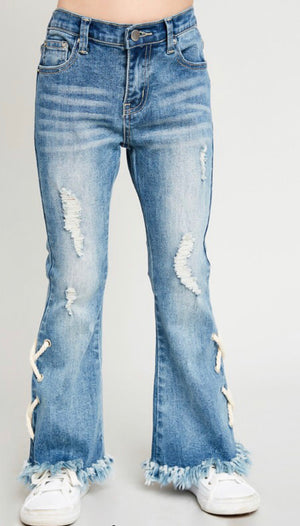 Girls Lace Up Distressed Flare Jeans - Shop Amour Boutique