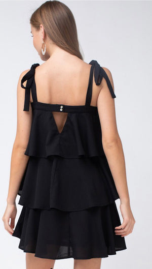 Just Give Me A Reason - Black Tiered Dress - Shop Amour Boutique
