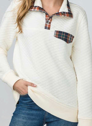 Quilted Pullover Plaid Sweater - Shop Amour Boutique
