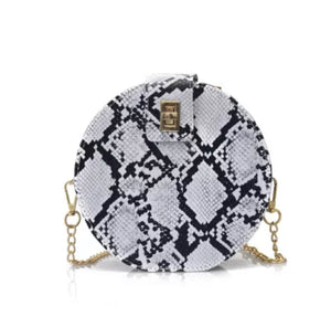 Round Snake Skin Crossbody Bag - Shop Amour Boutique