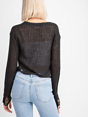 Black Cropped Sweater - Shop Amour Boutique