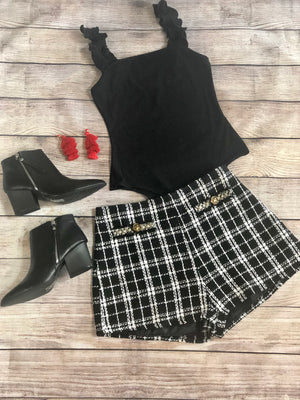 Plaid Tweed High Waist Shorts - Shop Amour Boutique