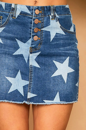 Star Bright Denim Skirt - Shop Amour Boutique