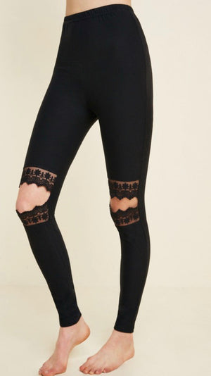 Lace Cut Out Leggings - Shop Amour Boutique