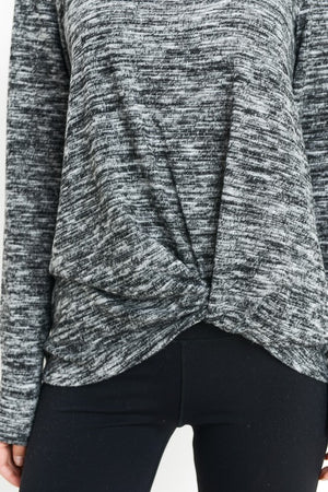 Knotted Grey Shirt - Shop Amour Boutique