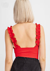 Ribbed Ruffle Body Suit - Shop Amour Boutique
