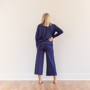 Culotte Lounge Wear Pants - Blue - Shop Amour Boutique