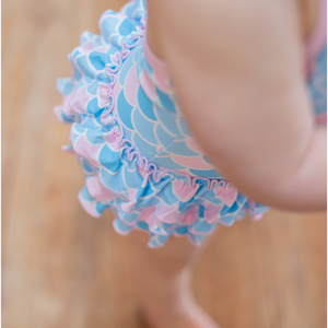 Mermaid Pastel Scale Ruffle One Piece - Shop Amour Boutique