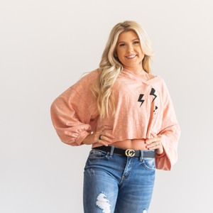 Lightning Bolt Cropped Sweatshirt - Shop Amour Boutique