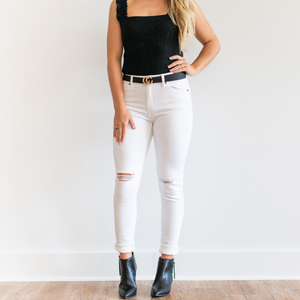 Why Not White Skinny High Rise Jeans - Shop Amour Boutique