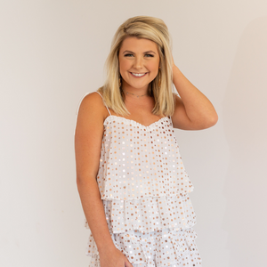 White Sequin Chiffon Top - Shop Amour Boutique