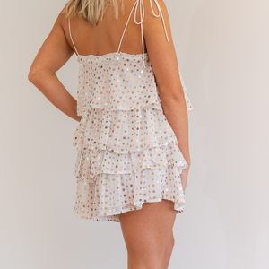 White Sequin Chiffon Shorts - Shop Amour Boutique