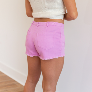 Lace Up Denim Shorts - Pink/Lilac - Shop Amour Boutique
