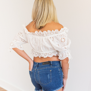 Summer Love White Eyelet Crop Top - Shop Amour Boutique