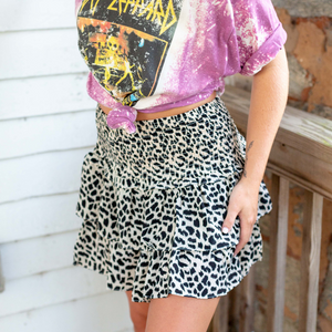 Cheetah Ruffled Mini Skirt - Shop Amour Boutique