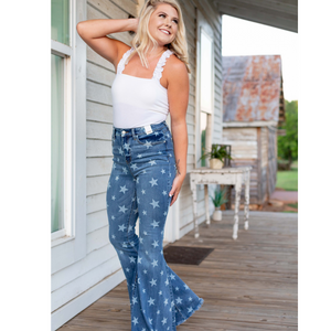 Judy Blue Stars In Blue Flare Jeans - Shop Amour Boutique