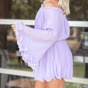 Lilac Pleated Off The Shoulder Romper - Shop Amour Boutique