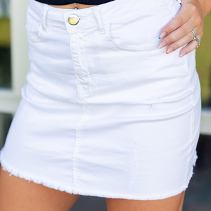 White Distressed Denim Skirt - Shop Amour Boutique