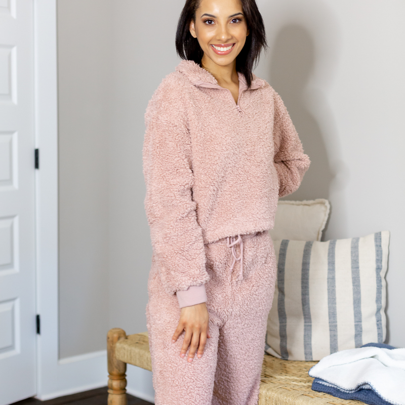 Plush Jogger Set - Pink - Shop Amour Boutique