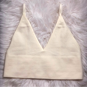 Cream Ribbed Seamless Brami Top - Shop Amour Boutique