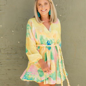Tie Dye Dress - Yellow - Shop Amour Boutique