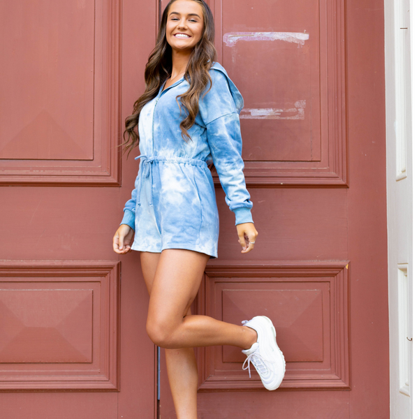 Blue Tie Dye  Romper - Shop Amour Boutique