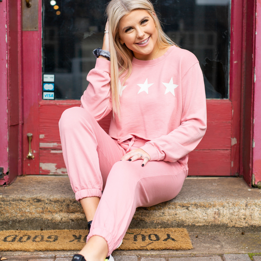 Pink Star Crop Sweatshirt - Shop Amour Boutique