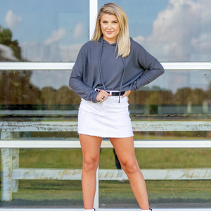 Waffle Knit Crop Hoodie - Charcoal - Shop Amour Boutique