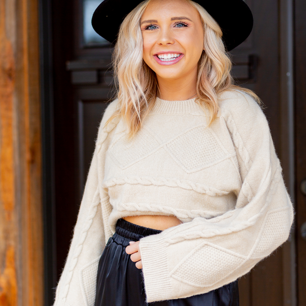 Beige Cable Crop Sweater - Shop Amour Boutique