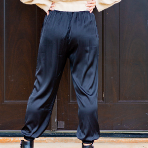 Black Satin Jogger Pants - Shop Amour Boutique