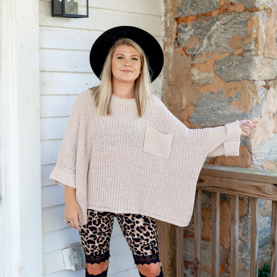 Cream Oversized Sweater - Shop Amour Boutique