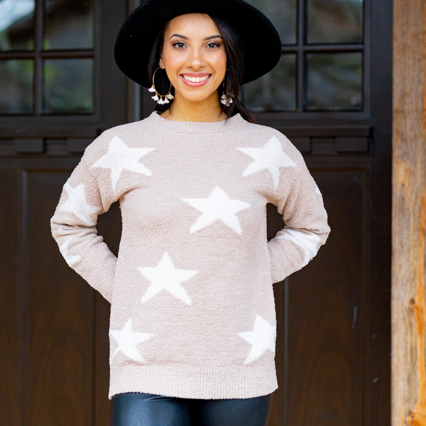 Star Sweater - Tan - Shop Amour Boutique