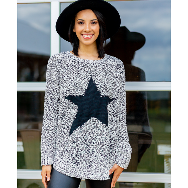 One And Only Black Star Sweater - Shop Amour Boutique
