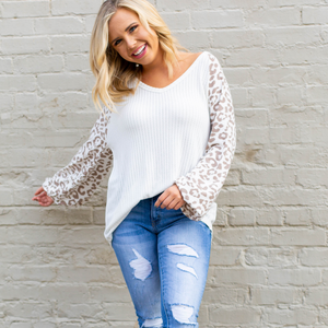 Waffle Knit Leopard Shirt - White - Shop Amour Boutique