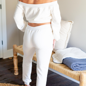 Off Shoulder Jogger Set - White