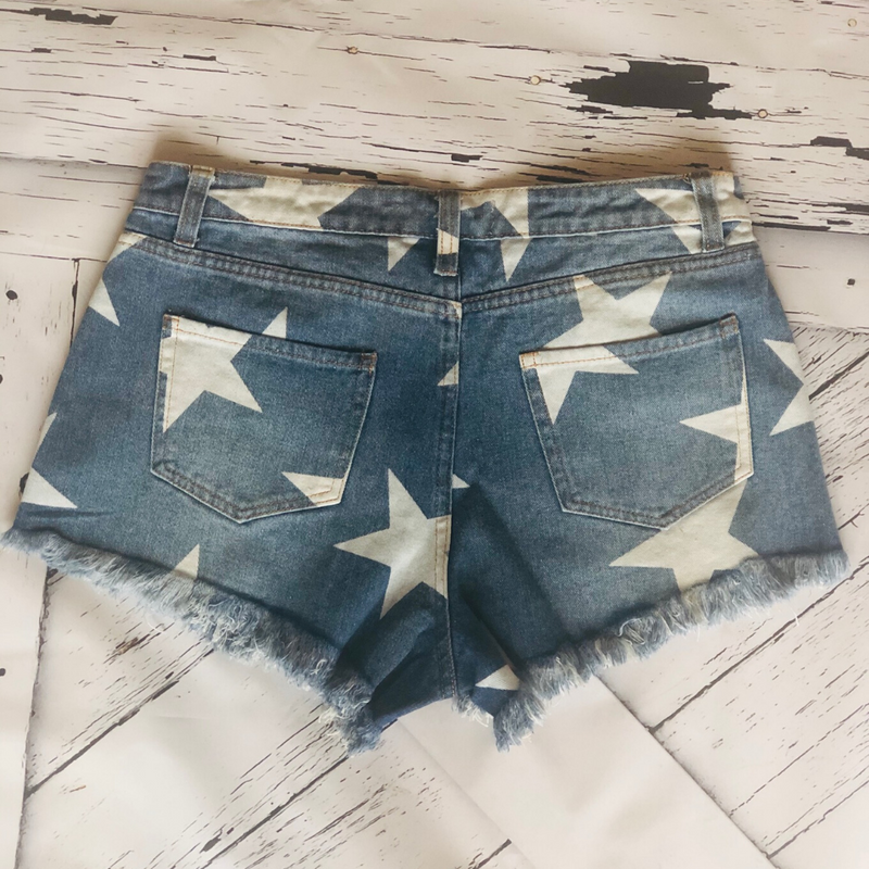Shine Bright Star Denim Shorts - Shop Amour Boutique
