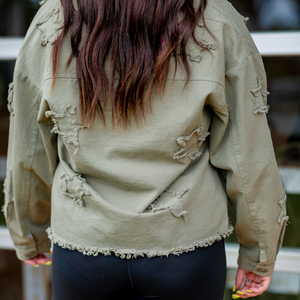 Star Patch Denim Jacket - Shop Amour Boutique