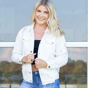 White Distressed Denim Jacket - Shop Amour Boutique