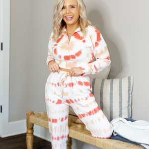 Coral Tie Dye Jogger Set - Shop Amour Boutique
