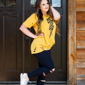 Stay Wild Lightning Bolt Mustard Shirt