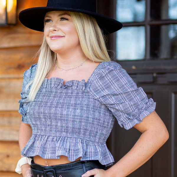 Rad Plaid Smocked Crop Top - Shop Amour Boutique